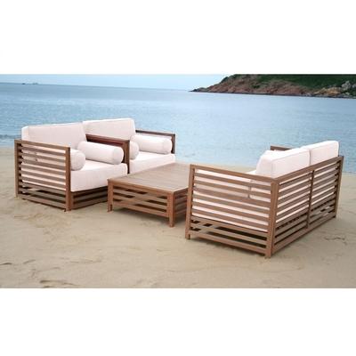 Ensemble Lounge Set BELTRAY Bois Exotique - 4 Places - Avec Coussins Blancs