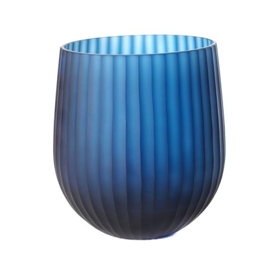 Vase Droit Rayures Bleues