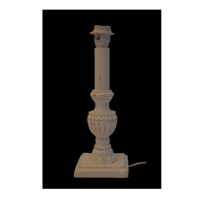 Lampe Bois Blanc Patine SUNDA H 40 cm