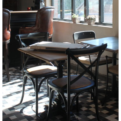 Table BISTROT Pieds Noirs 80x80 cm