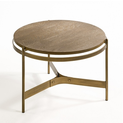 Table Basse CHENE et METAL DORE Ø 61.8 cm