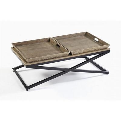Table Basse Chêne Vieilli Et Métal L 120 cm