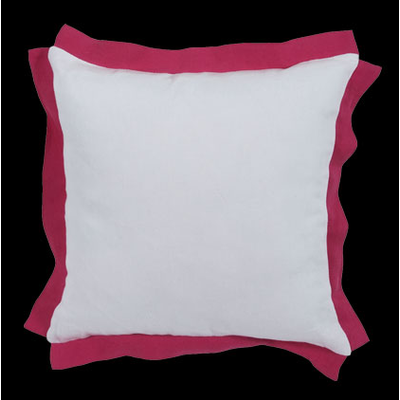 Coussin Blanc Volant Rose BELLAGIO