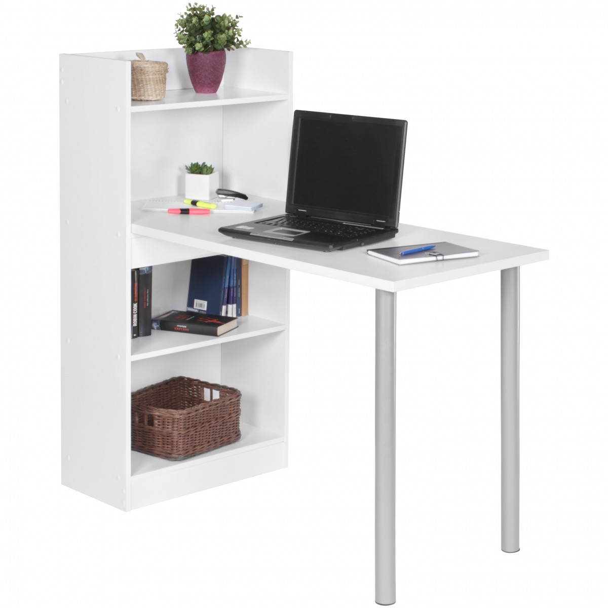 bureau avec tag re nico 120x54 en bois blanc meubles. Black Bedroom Furniture Sets. Home Design Ideas
