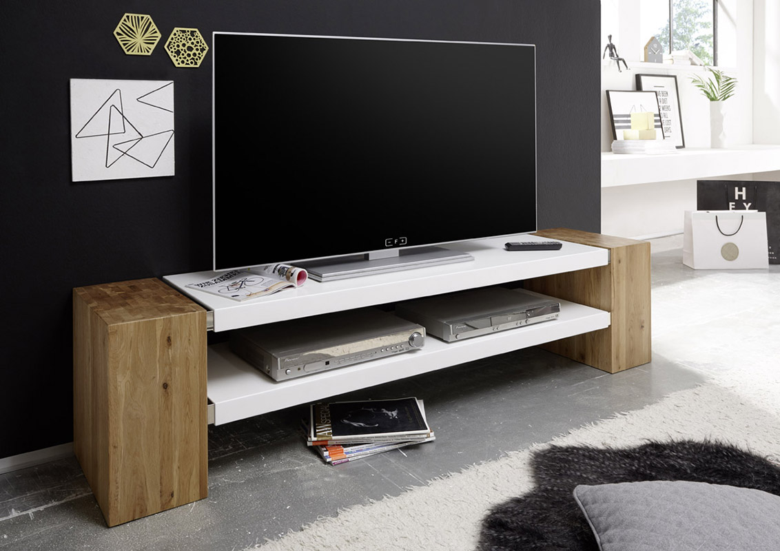 Meuble Tv Contemporain 170 Cm Jamie Ii Ch Ne Massif Blanc Mat  # Meuble Tv Contemporain Blanc