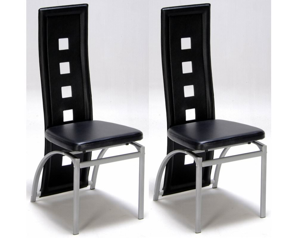 Lot de 2 chaises design noir meubles de salon for Chaise de designer