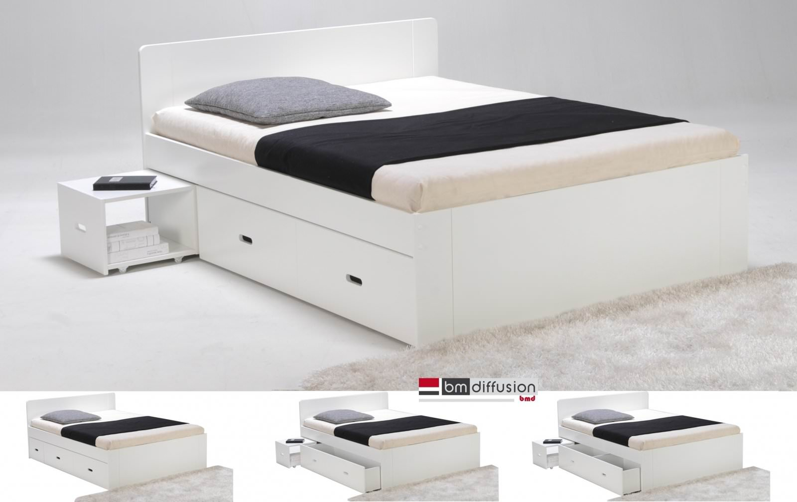 lit sidney 140 x 190 laqu blanc 2 chevets et 2 tiroirs. Black Bedroom Furniture Sets. Home Design Ideas