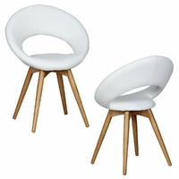 Lot de 2 chaises LINDA scandinaves en blanc cassé