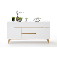 Commode style scandinave Rikke blanc mat - 2 portes, 5 tiroirs -pieds chêne massif