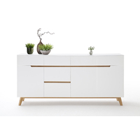 Commode style scandinave Rikke blanc mat - 3 portes - 6 tiroirs -  pieds chêne massif