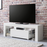 Meuble TV TELIO Blanc brillant 1 tiroir & LED blanc, 130 cm