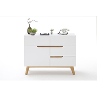 Commode style scandinave Rikke blanc mat -  1 porte 4 tiroirs  - pieds chêne