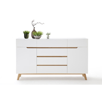 Buffet - Commode style scandinave Rikke blanc mat - 2 portes 6 tiroirs - pieds chêne