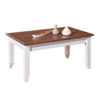 Table Basse Westerland Style Campagnard Blanc/Marron Sépia