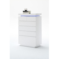 Commode moderne blanc brillant Florence - 6 tiroirs - avec LED
