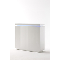 Commode moderne blanc brillant Florence - 2 portes- avec LED