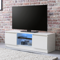 Meuble TV 120 cm Contemporain Blanc Brillant avec LED