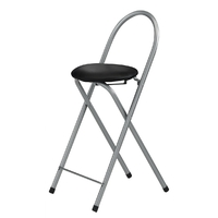 Tabouret de bar pliable - Lot de 2 - assise couleur noir - Else