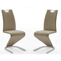 Lot de 2 chaises KRISSI assise cappuccino  pied chromé