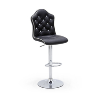 Lot de 2 tabourets de bar Lou assise noire  pied chromé