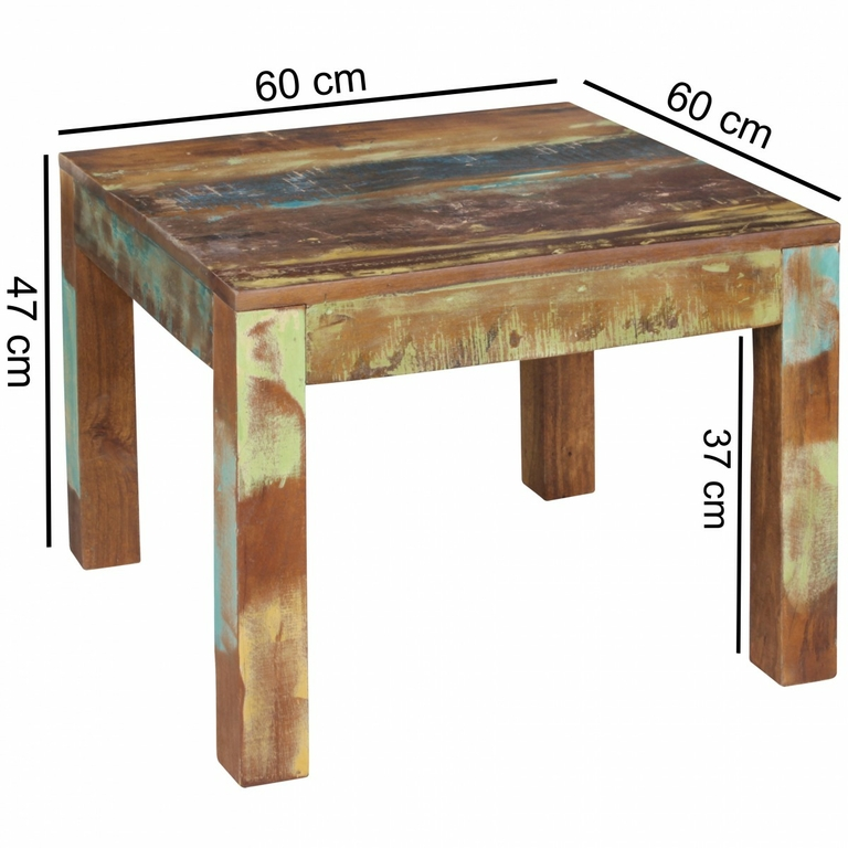 table basse carr e delphi 60x60 en bois de manguier recycl meubles de salon table basse. Black Bedroom Furniture Sets. Home Design Ideas