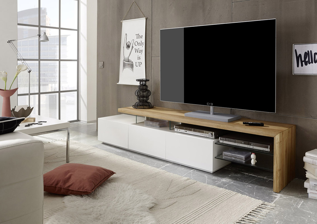 Meuble TV contemporain Alicia plateau chªne massif blanc mat