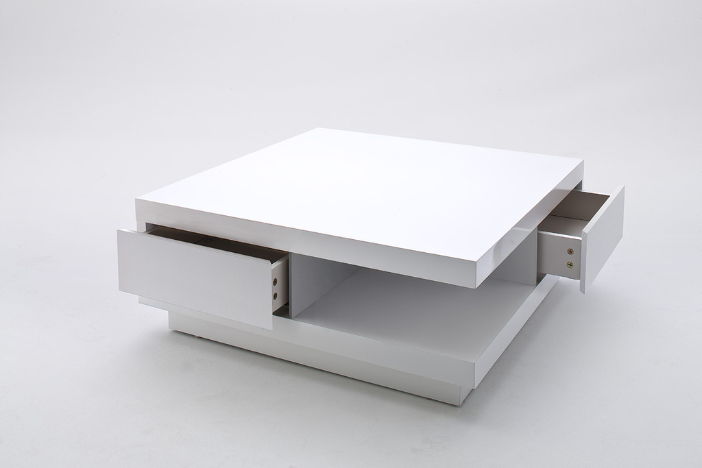 Carrée AnelieLaquée Design Table Contemporain Blanc2 Tiroirs Basse QxedBoErCW