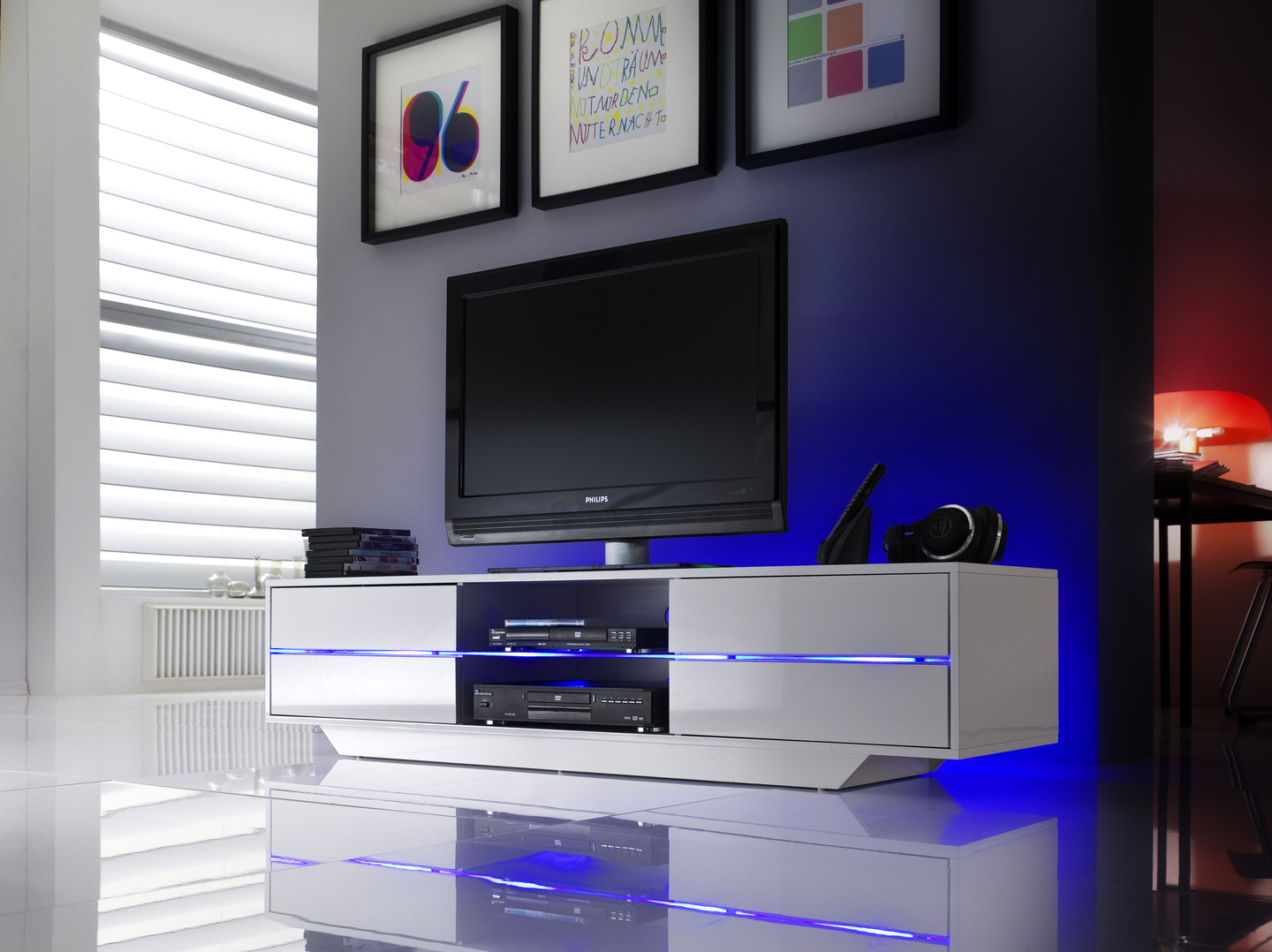 Meuble Tv Media Charly Laqu Blanc Avec Led 4 Tiroirs 2 Niches  # Meuble Tv Laque Blanc Avec Led