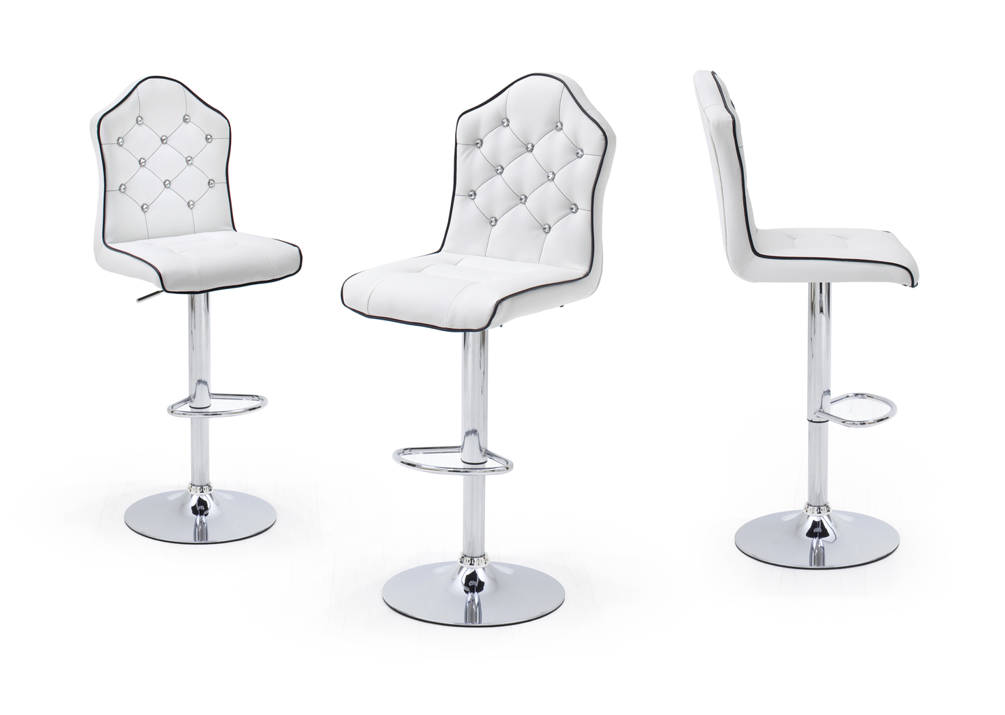 Lot de 2 tabourets de bar lou assise blanche pied chrom - Pied de tabouret bar chrome ...