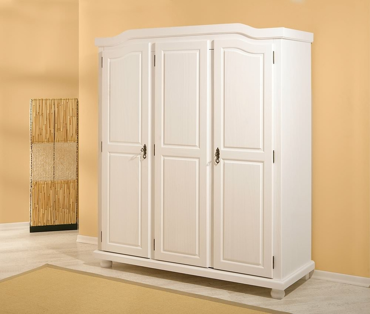 armoire rangement armoire penderie pin massif blanche 3 portes. Black Bedroom Furniture Sets. Home Design Ideas