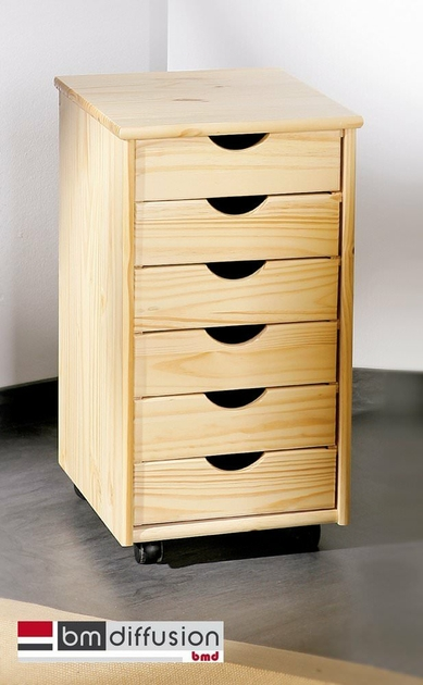 nils caisson de rangement pour bureau sur roulettes 6 tiroirs meubles bureau caisson de bureau. Black Bedroom Furniture Sets. Home Design Ideas