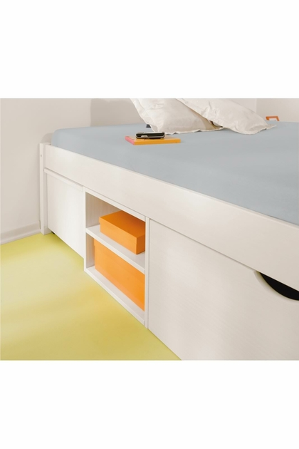 Lit 2 personnes pin massif multi rangements till 140x190 for Chambre a coucher 2 personnes occasion