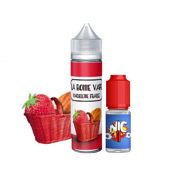 Madeleine Fraise 0mg 50 ml + Booster 10ml - La Bonne Vape