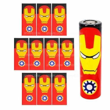 pvc-heat-shrinkable-tube-wrap-sleeve-for-18650-battery-iron-man-pattern-10-pcs