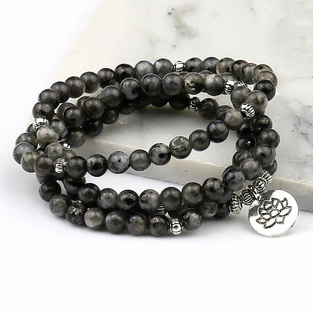 Bracelet Mala 108 perles noires Lotus