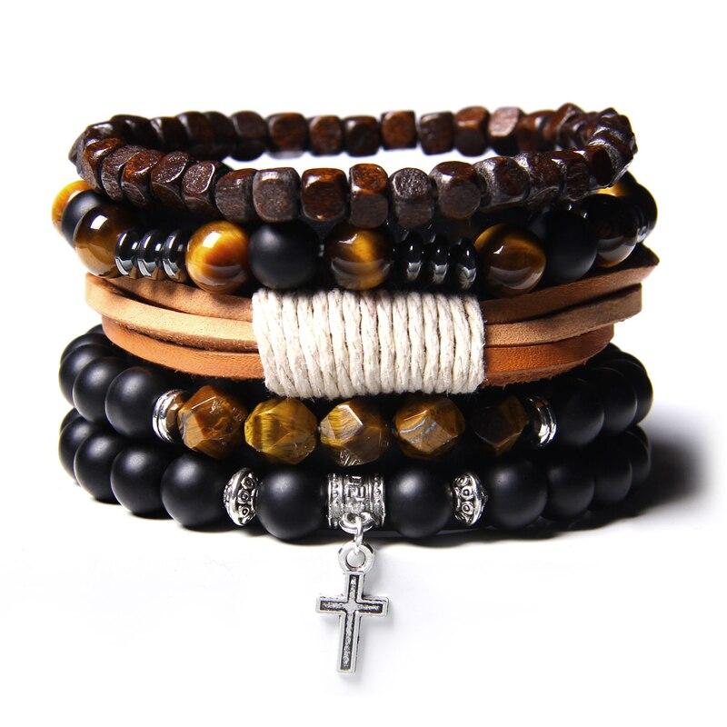 Ensemble de Bracelets Homme en Labradorite naturelle hématite véritable, perles en pierre d'onyx noir poli