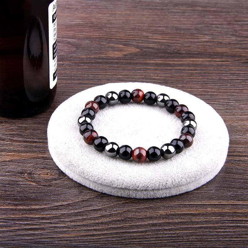Bracelet Homme Perles en Pierres semi-précieuses, Santé et Protection, Oeil de tigre
