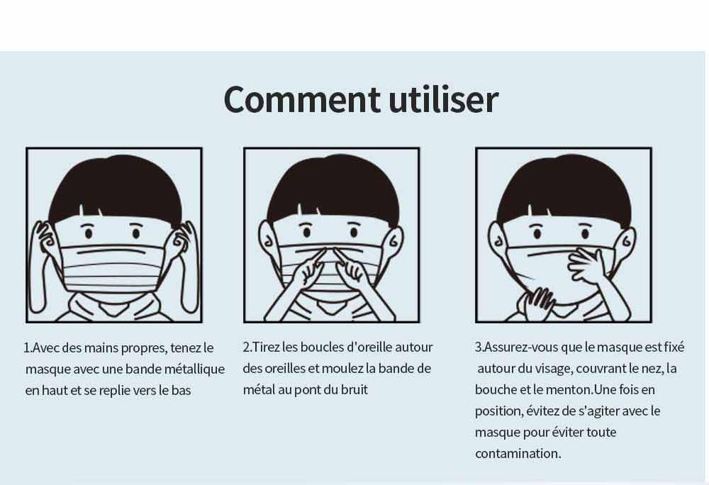 masques jetables pour enfants de 3 ans à 13 ans