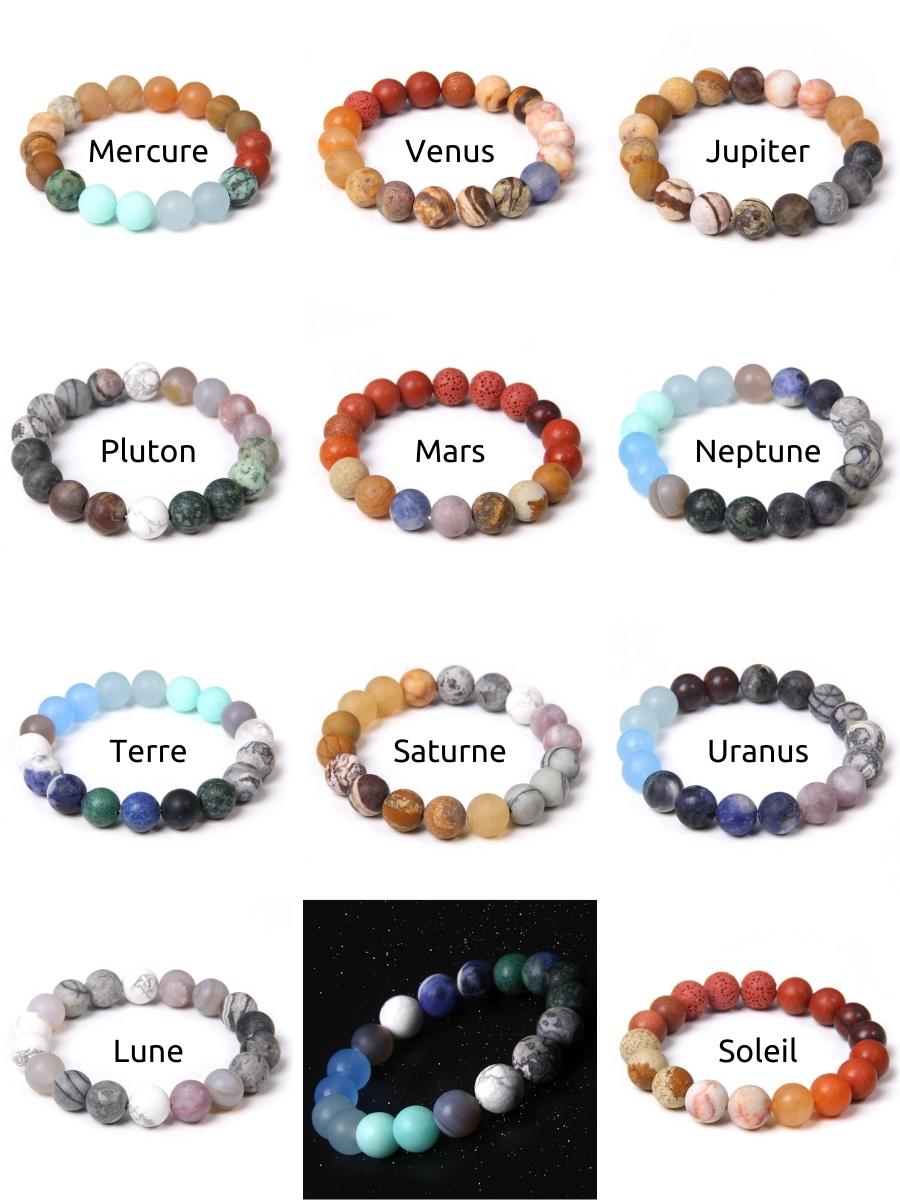 Pierres semi-précieuses pour les bracelets Planètes