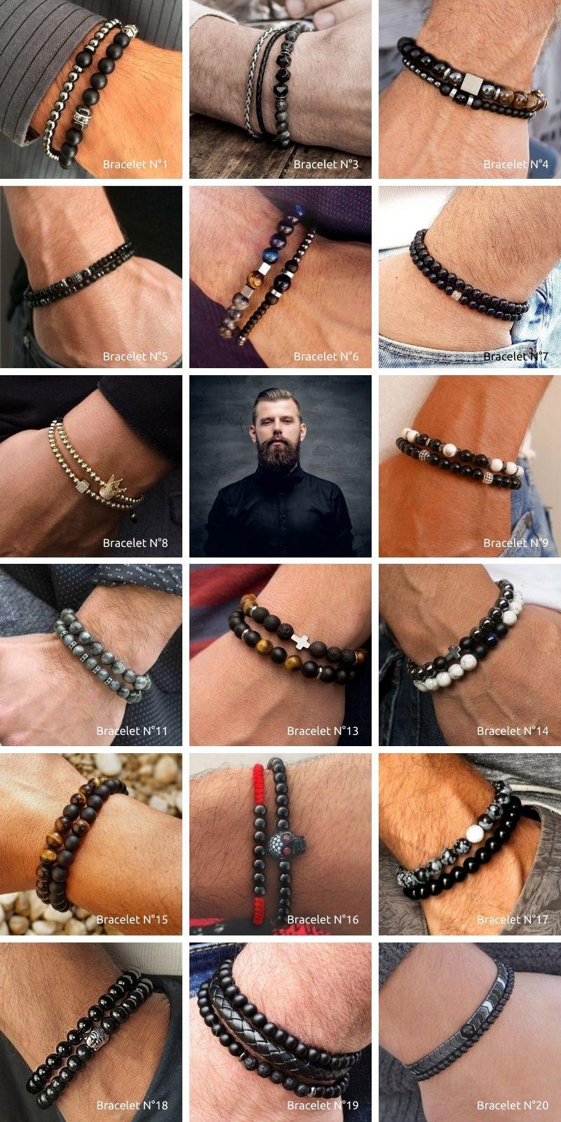 bracelet pour homme, perles en pierres, argent et noir