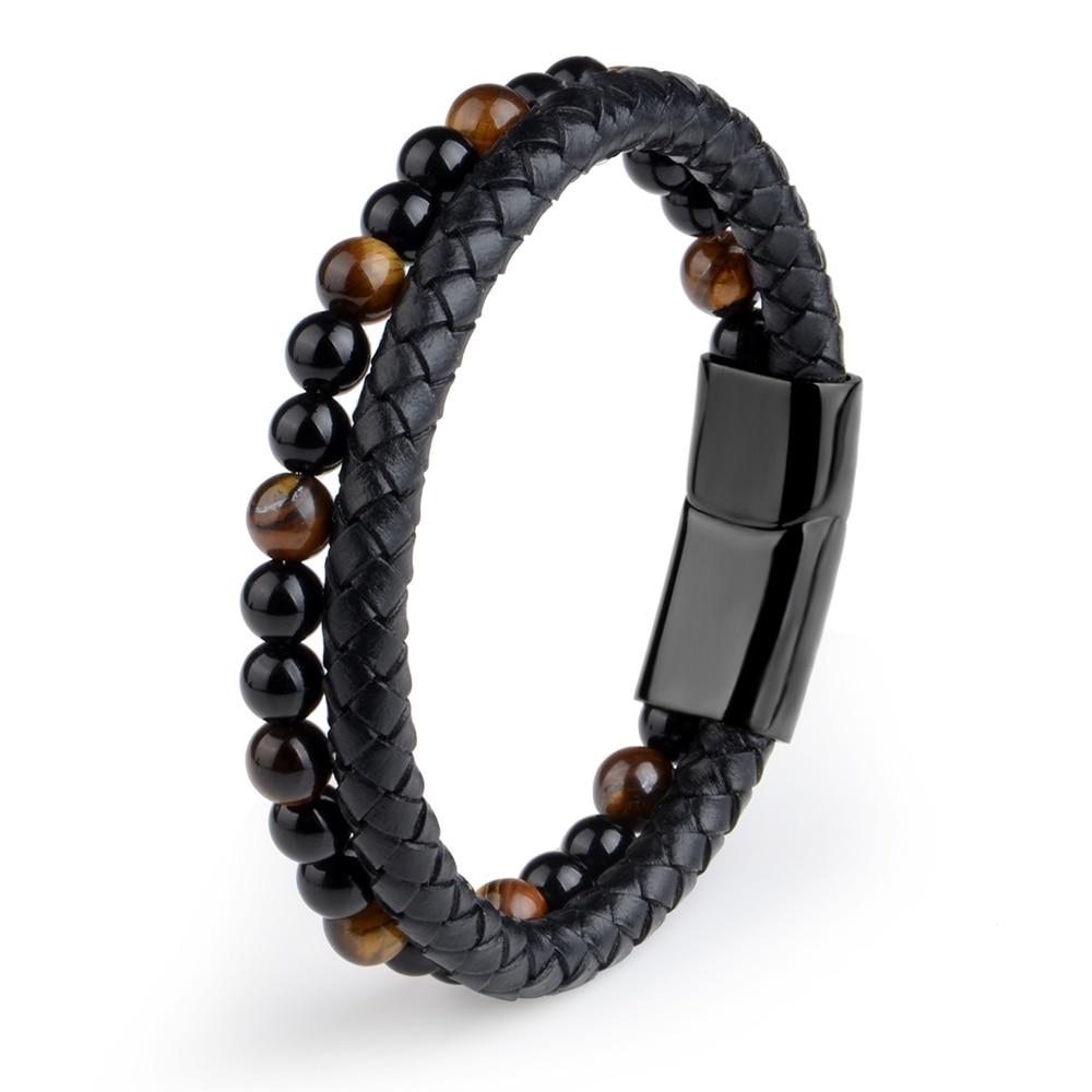 Cadeau Bracelet Homme MAGNETISME perles pierres oeil de tigre 1