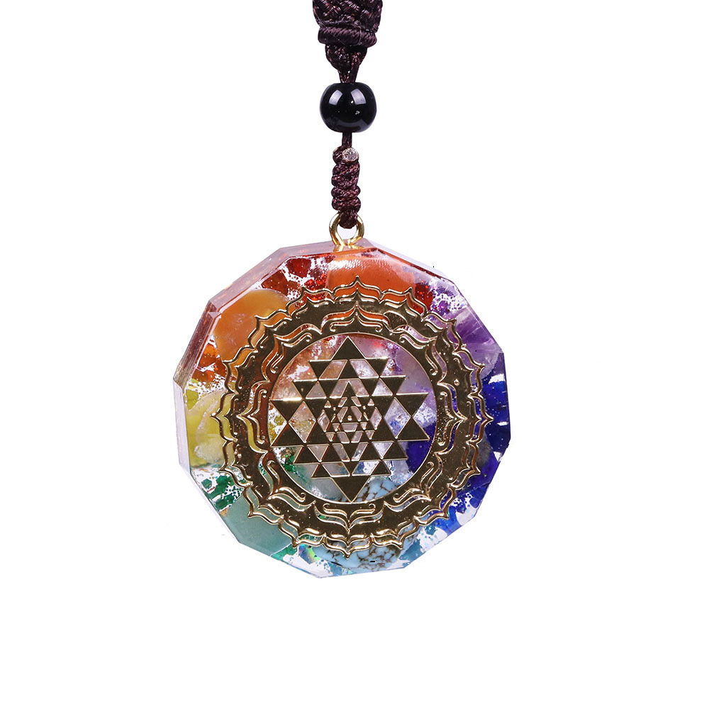 Pendentif Collier Orgonite Sri Yantra GoHappy 5