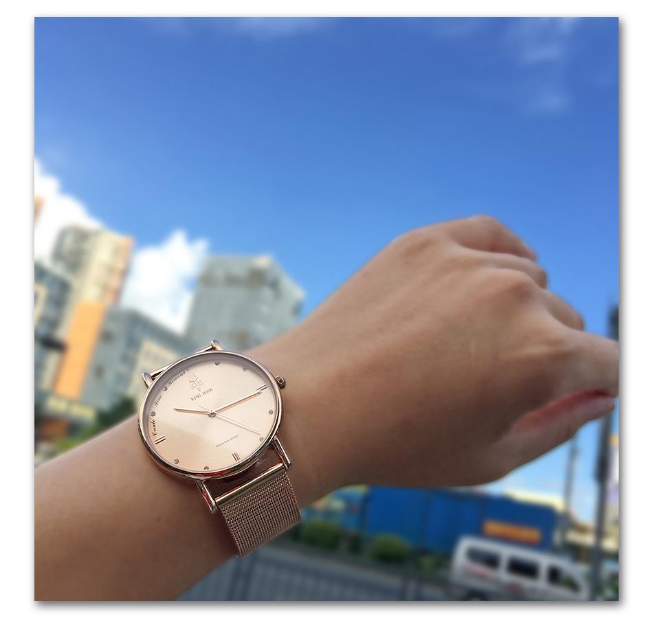 montre à quartz femme bracelet argent or en maille d'acier