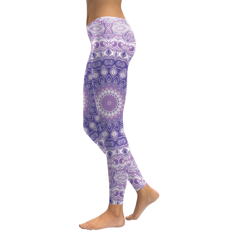 Legging Sport Gym Yoga Purple Mandala