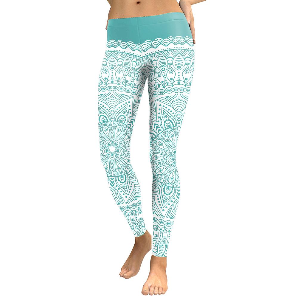 Legging Sport Gym Yoga Turquoise Mandala