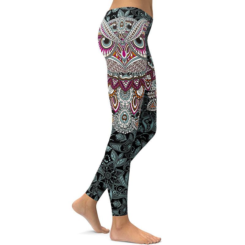 Legging Sport Gym Yoga Mandala Hibou