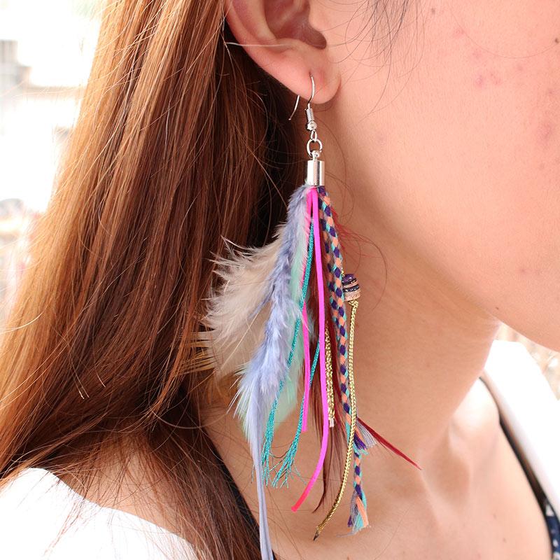 Boucles d'oreilles fantaisie PLUMES colorées