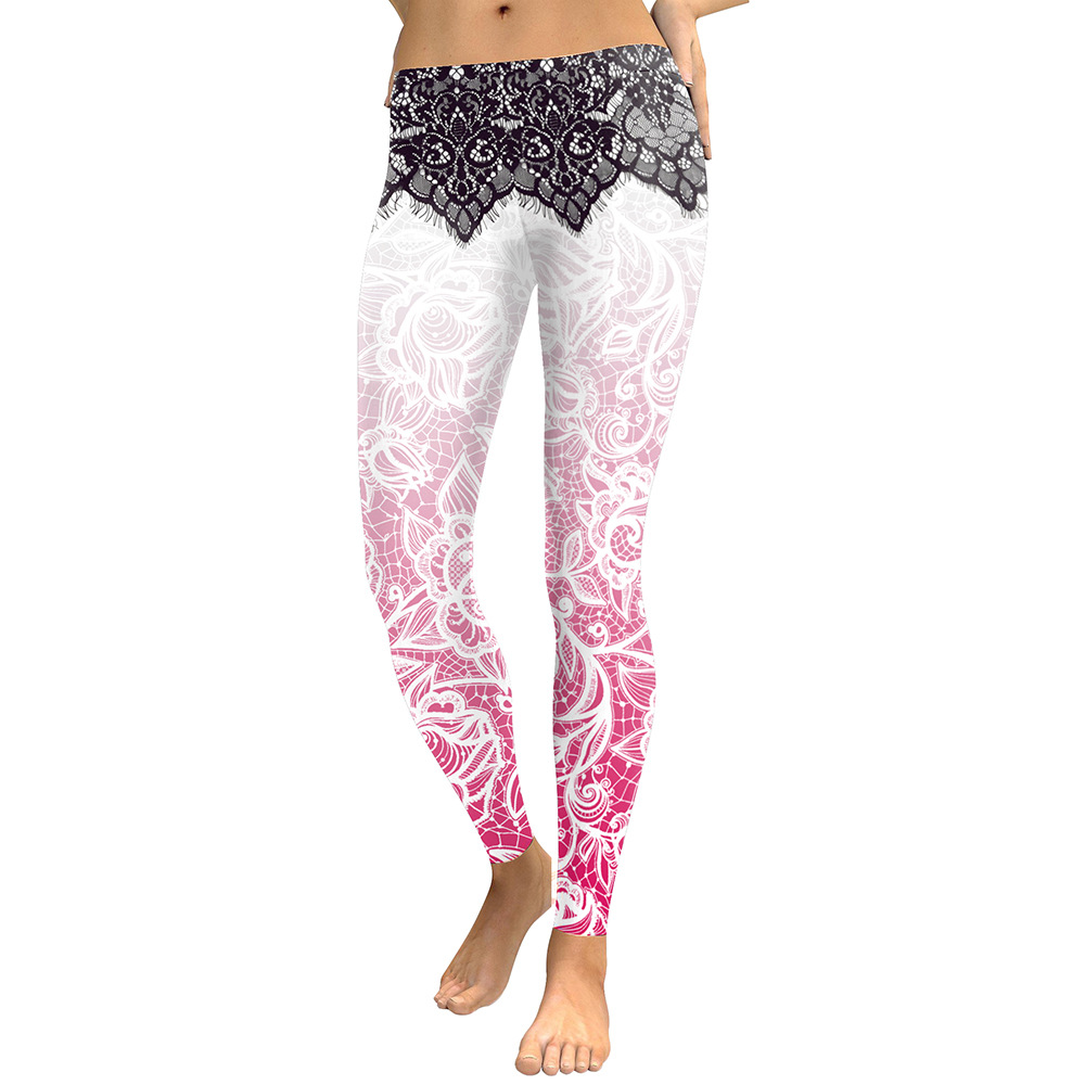 Legging Sport Gym Yoga Dentelle