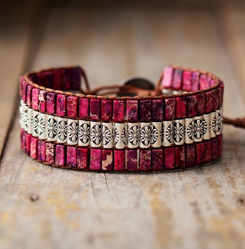 bracelet manchette en pierres de jaspe semi-précieuses