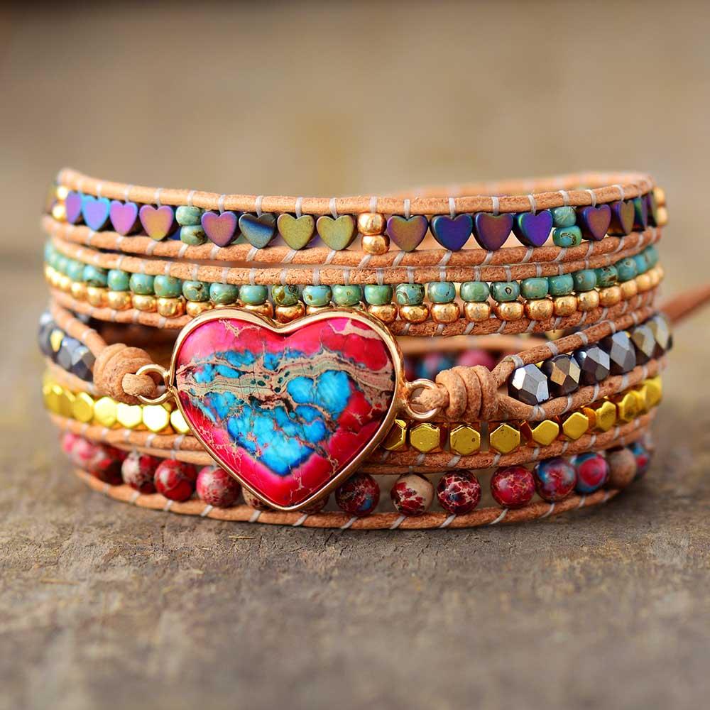 Bracelet enroulable COEUR Cuir et Pierres